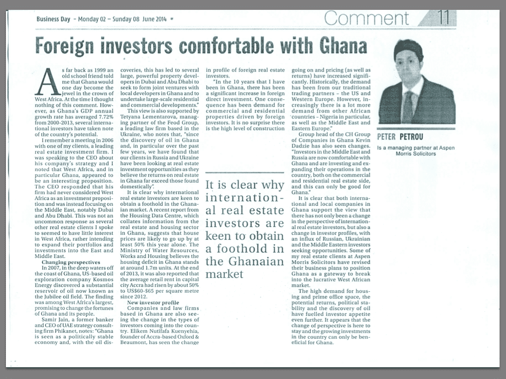 Foreign investors comfortable with Ghana